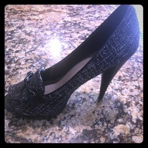 Levity Tweed Black and White Peep Toe Heels